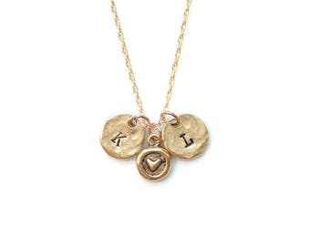 Love Jewelry, Initial Necklace, Heart Necklace, Valentines Day Gift,Gold Necklace,Minimalist Necklace,Couples Necklace,Rustic Jewelry