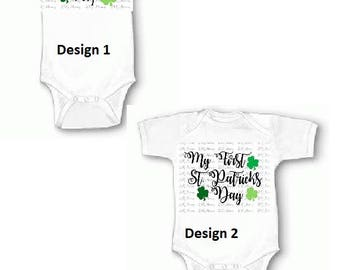 My First 1st St. Saint Patrick's Patty's Day Baby Onesie Shirt Outfit Clover Shamrock