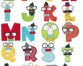 Hipster Boys Alpha Applique Machine Embroidery Designs 4 Inch, 5 Inch and 6 Inch Tall