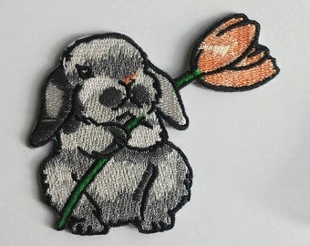 Bunny patch Iron on patch Embroidered patch Patches iron on Large patch Small Iron on patch Flower patch