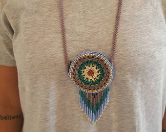 Beaded native american Mexican tribal pouch necklace, beads/jewelry/jewellery/indigenous/colourful/festival necklace/zipped pouch/ethnic