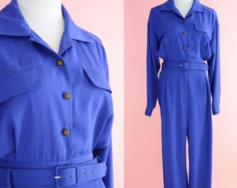 Vintage 80s 90s Jumpsuit // Joan Walters Romper, Purple, Blue, 1980s, 1990s Costume, Women Size Small, Medium