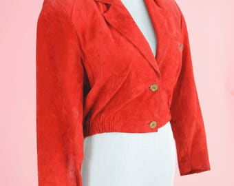 Vintage Lord & Taylor Leather Jacket // 80s Cropped, Red Suede Outerwear, Coat, Women Size Small