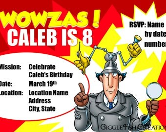 Spy or Inspector Gadget Birthday Party Invitation | Two Designs Available | Digital File