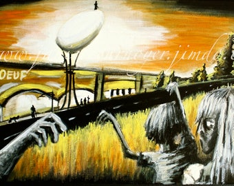 ZOMBIES ATTACK of the Nutri-oeuf - St-Hyacinthe (Georges A. Romero) - 12X24'' Acrylic painting.