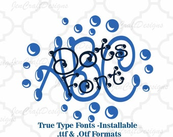 Dot Font in True Type format .TTF & .OTF Installable Font for Cricut, Design Space, Microsoft Word and more