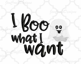 I Boo What I Want Embroidery Design Cute Halloween Ghost With Bow, Ghoul Instant Download digital file in PES, EXP, VIP, Hus, Xxx, Jef