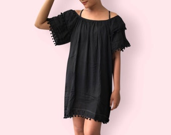 Black pompom beach dress, BW13 Black, beach dress,  holiday, maternity wear, lounge wear, poolside party wear, party dress, fun dress