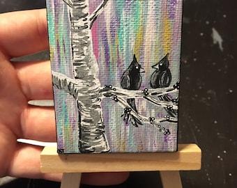Mini Tweet Birds in Tree Painting | Optional Mini Easel Stand | Desk Art | Bookcase Art | Mini Art | Small Artwork |