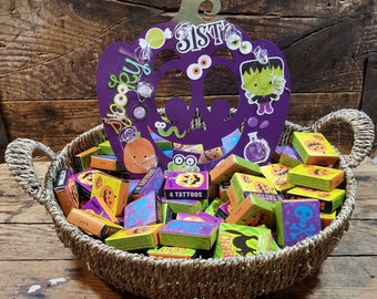 Pumpkin Basket with Halloween Tattoos (PUM616)