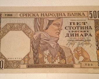 1941 Yugoslavia banknote,500dinars,old rare money
