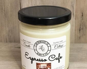 Organic Soy Candle- Espresso Cafe- Vegan Living- Natural Gifts- Coffee House Scents- Gifts Ideas