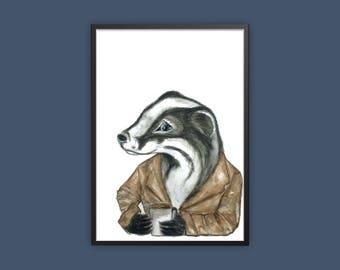 badger print, badger quirky art print, woodland art print, badger having coffee print, hipster animal print, watercolour badger art, badger