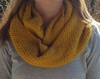 Hand knitted cowl, infinity scarf, mustard, yellow, scarf, moss stitch pattern cowl
