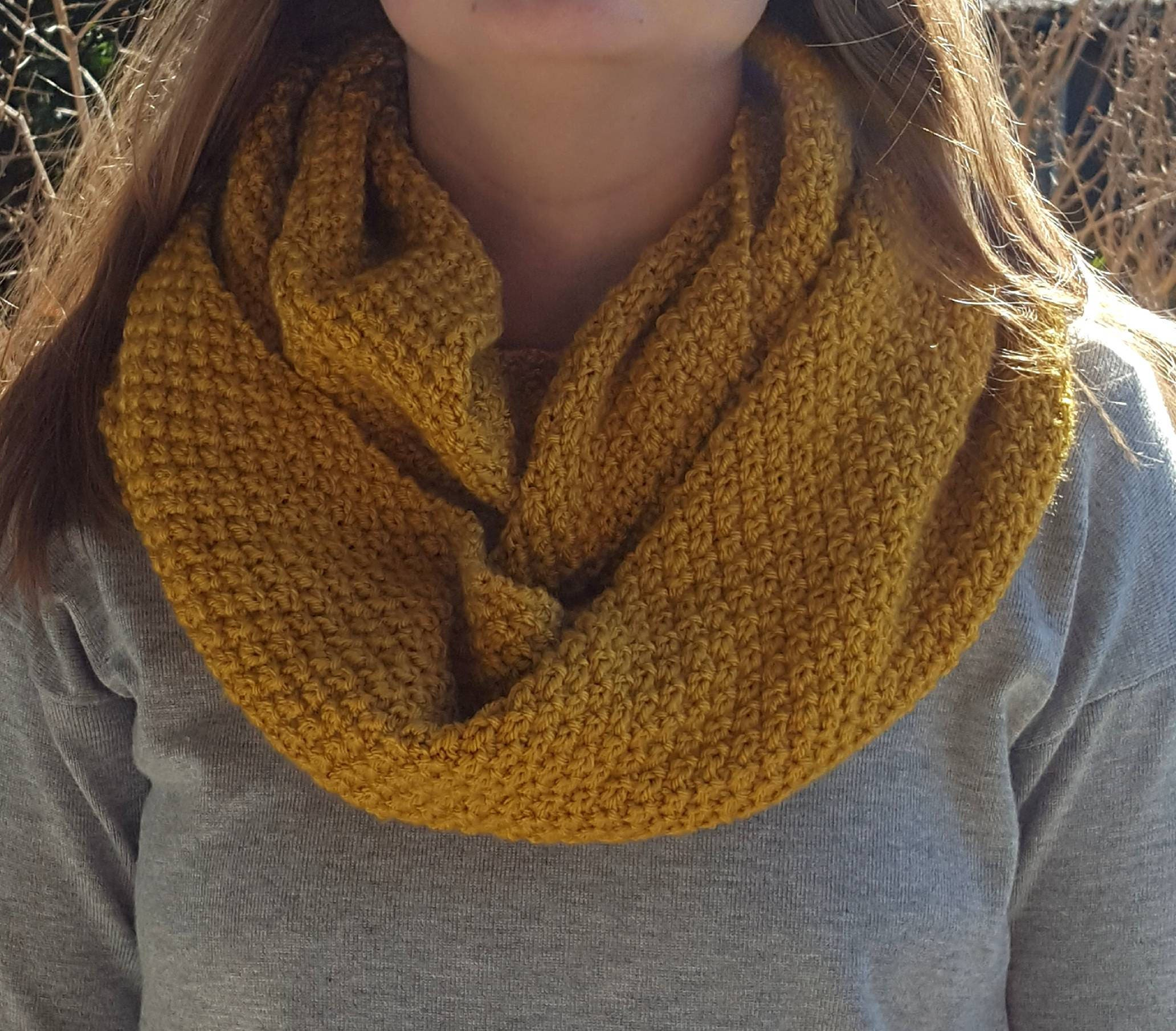 Hand knitted cowl infinity scarf mustard yellow scarf moss hand knitted cowl infinity scarf mustard yellow scarf moss stitch pattern bankloansurffo Choice Image