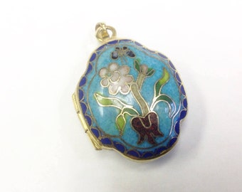 Vintage, cloisonné, enamel, flower and butterfly, locket.