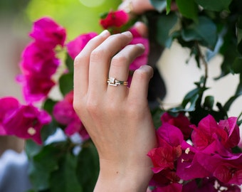 Princess Diamond Set, 14K Rose Gold Diamond Set, Engagement Ring Set, Square Diamond Ring, Minimal Diamond Set, Wedding rings set