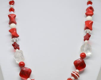 charming red tone beaded necklace