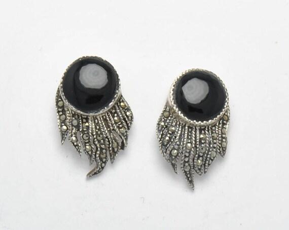 Boucles d'oreille vintage en onyx, marcassite et argent