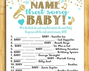 Baby Shower Game - Name That Song, BABY! - Teal Blue and Gold - Instant Printable Digital Download - diy Baby Shower Printables Guessing DIY