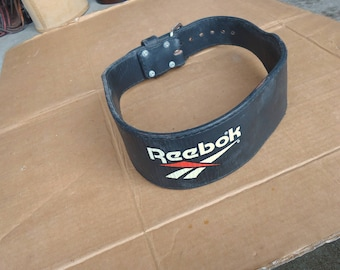 weight lifting belt vintage Reebok leather air pump capable,pro gym body fitness train strap. RARE