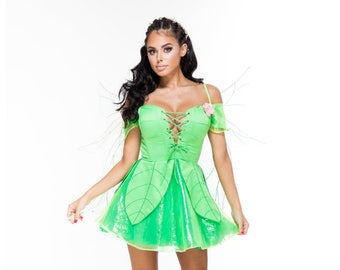 forest fae fairy costume custom pixie faerie wings lace up dress plus size silk high