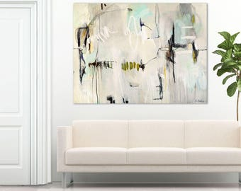 ABSTRACT PAINTING minimalist, large abstract painting blue and cream, abstract art prints, abstract wall art, abstract painting ~ Aquavert