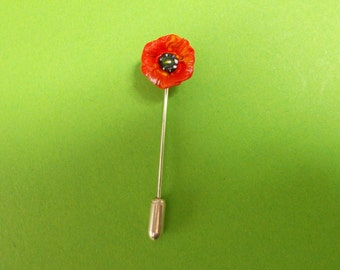 Tiny Red POPPY PIN Floral Wedding Corsage Lapel Flower Boutonniere Remembrance Brooch Papaver Commemorative Pin Flower Jewellery HandPainted