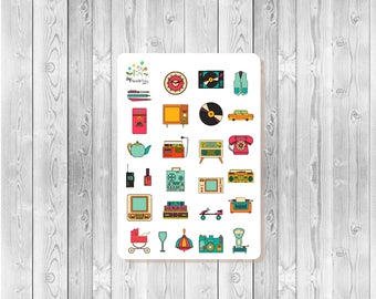 S035 - 26 Retro Planner Stickers