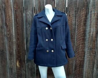 Vintage 60's 70's Women's Wool Pea Coat Jacket Navy Blue Black Military Futura M