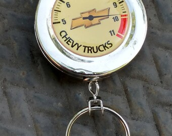 On Sale thru 8/1/17 Used Vintage Chevy Trucks R.P.M. Gauge Design Clip On Retractable Key Ring Chain/Badge Holder/Silver,Yellow,Black Red