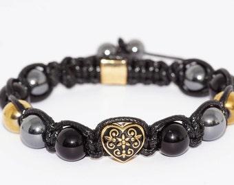 Steel gold/gems Agate/Hematite stone heart bracelet