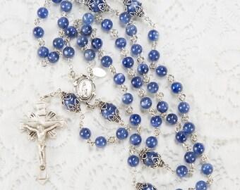Blue Kyanite Rosary - Gift for Catholic Women - Handmade Heirloom, Sterling Silver, Miraculous Medal, Starburst Crucifix - Custom Rosaries