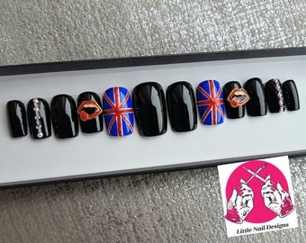 The Rolling Stones Band British Rock Union Jack Hand Painted False Nails | Swarovski | Little Nail Designs