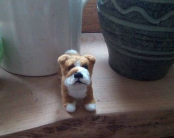 Handmade needle felted Bulldog miniature