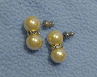 Fabulous Faux Pearl and Rhinestone Pierced Earrings