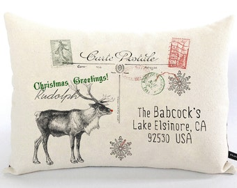 Personalized Christmas pillow cover Rudolph Reindeer postcard cotton canvas 12x16 cottage chic cushion Christmas gift  #513 FlossieandRay