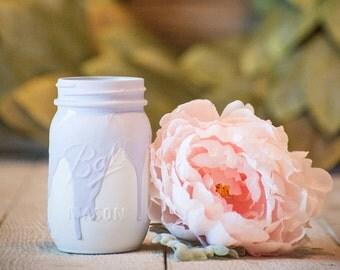 Lavender and White Drip Centerpiece Kylie Jenner Wedding Decor Party Mason Jar Rustic Farmhouse Decor Painted