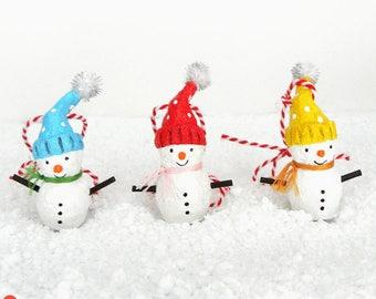 Christmas Snowman Decoration, Snowman Ornament, Set of 3, Christmas Tree Decoration, Paper Mache Snowman, Cute White Snowman, Christmas Gift