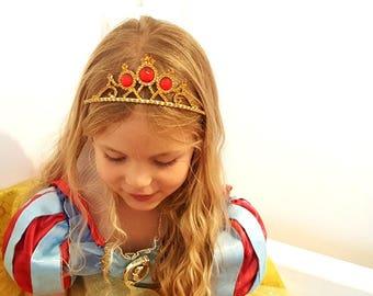 Snow White Tiara, Snow White Crown ,Princess Snow White Gold & Red Tiara, Snow White Rhinestone Tiara