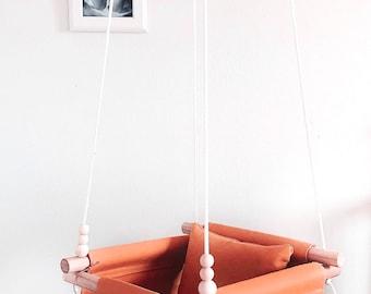 baby swing, orange swing, wooden swing, natural swing, porch swing, indoor swing, outdoor swing, baby shower gift, fabric swing, baby hammoc