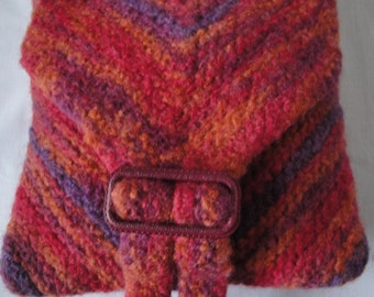 red/multi felt bag, knitted wool purse, small messenger bag, OOAK shoulder bag, chevron knit handbag, buckle-detail purse, red/purple/orange