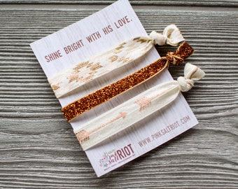 Christian Wristbands, Shine Bright Hairtie Set, Gold Glitter Hair Ties, Rose Gold Arrow Hairtie, Best Friend Gifts, 602071