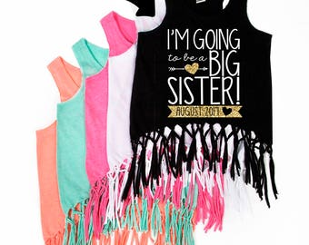 I'm Going to be a Big Sister - Big Sister- New Big Sister - Fringe Dress - Tank Top - Announcement - Promoted to Big Sister - Big Sis