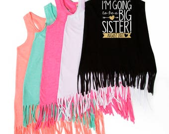 Big Sister - I'm Going to be a Big Sister- New Big Sister - Fringe Dress - Tank Top - Announcement - Promoted to Big Sister - Big Sis