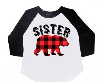 Sister Bear Shirts - Buffalo Plaid Bear - Announcement Shirts - Matching Family Shirts - Bear Shirts - Buffalo Plaid - Lumberjack Plaid