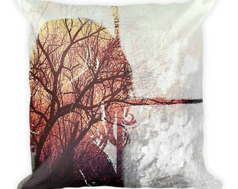 Square Throw Pillow Boho Chic - Tree of Life Home Decor - Beautiful Pillow for Teen - Tree Branch Art - Window Artwork - Strong Woman Gift