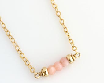 October Opal Birthstone Necklace / Birthstone Necklace for Women /Birthstone Layering Necklace /Pink Birthstone Necklace /Pink Opal Necklace