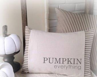 Pumpkin Everything, Pumpkin Pillow, Fall Pillow Cover, Minimalist Fall Decor, Autumn Farmhouse,