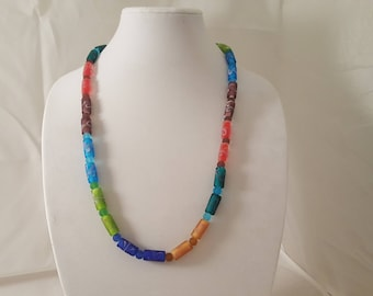 Multi Color Cylinder Glass Bead Necklace- Colorful Necklace- Multi Color Necklace- Glass Bead Necklace- Blue- Red- Green- Orange- Tan- Teal